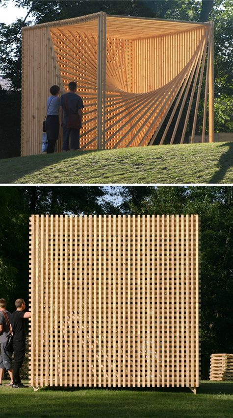 Cube by SØREN KORSGAARD, a pavilion built in the garden of the Statens Museum for Kunst during the Copenhagen International Wood Festival 2009