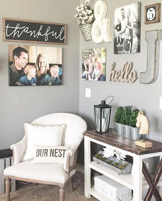 Nice 99 DIY Farmhouse Living Room Wall Decor And Design Ideas