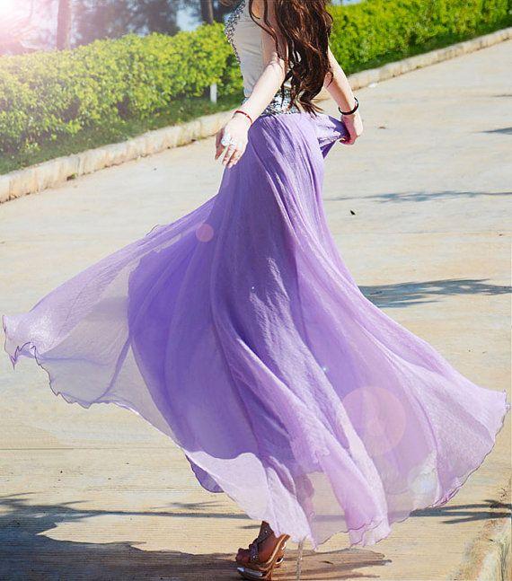 17 Colors Double Silk Chiffon Long Skirt / Summer Skirt/ Maxi Dress/ Bridesmaid Dress
