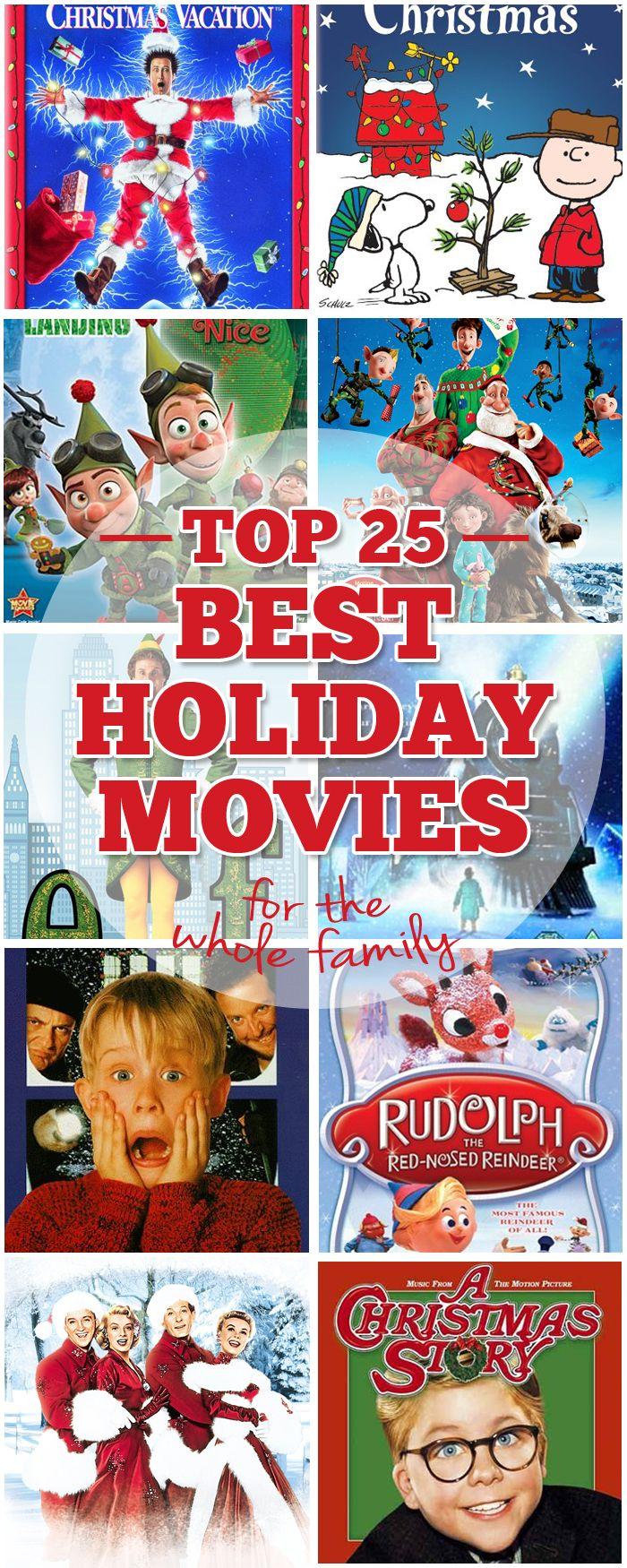 Top 25 Best Holiday Movies for the Whole Family Which one is your favorite: