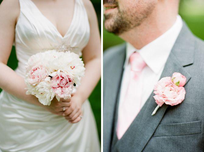 pink peony bridal bouquet and pink ranunculus flower boutonniere Photographers Jen&Jonah