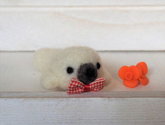White Seal Plush Needle Felted Seal with Bow Tie Animal Plush