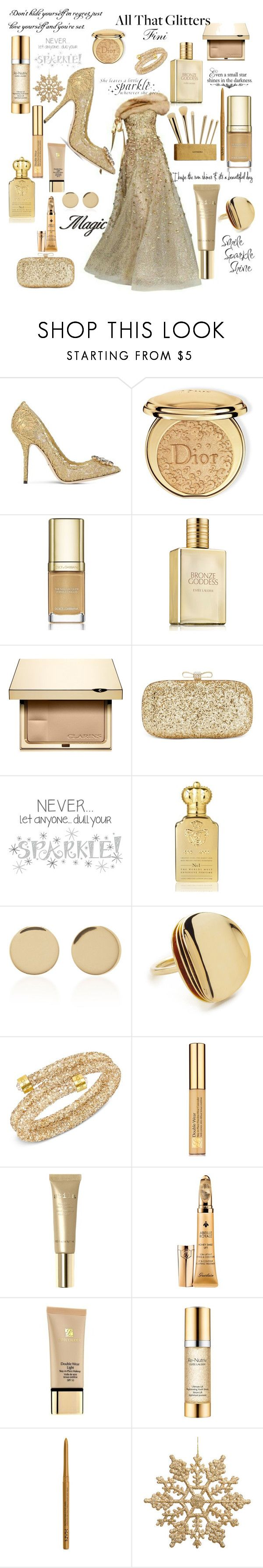 """All that glitters"" by fini-i ❤ liked on Polyvore featuring Dolce&Gabbana, Christian Dior, Estée Lauder, Clarins, Sephora Collection, INC International Concepts, WALL, Clive Christian, Magdalena Frackowiak and Elizabeth and James"