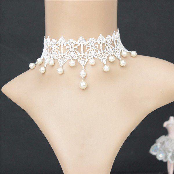 Gothic Retro White Lace Collar Pearl Pendant Bride Necklace Wedding Bridal Accessories