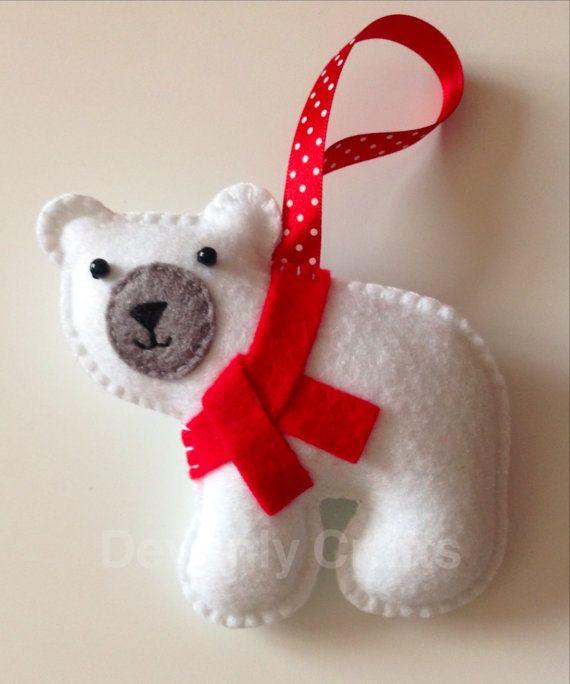Hand Stitched Felt Polar Bear Christmas Hanging Decoration Ornament