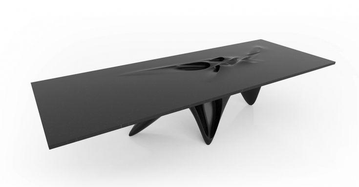Zaha Hadid, Luna Table, 2014. Designed for Citco. Granite Nero Assoluto, 30.7 x 47.2 x 126 in / 78 x 120 x 320 cm.