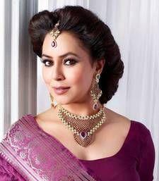 Elegant purple necklace set with maang tikka