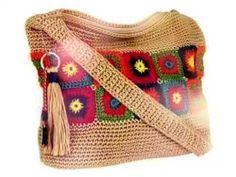 Crochet floral square bag - YouTube