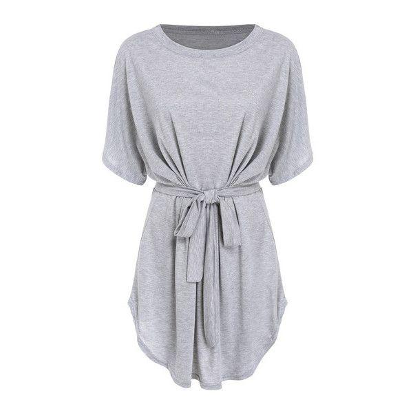 SheIn(sheinside) Short Sleeve Self-Tie Dolman Dress ($14) ❤ liked on Polyvore featuring dresses, grey, short dresses, tops, vestidos, wrap dress, short sleeve shift dress, grey dress, summer shift dresses and long-sleeve mini dress