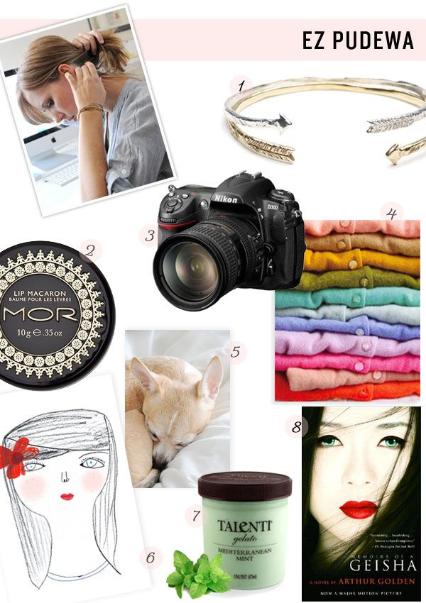 Ez Podewa's essentials, author of Creature Comforts, bangle, lip balm, Nikon, cardigans, dog, gelato, and memoirs of a GeishaLip Balm, Bangles Rocks, Arrows Bracelets, Gimme, Lips Balm, Arrows Bangles, Creatures Comforters, Items Style, Happy Things