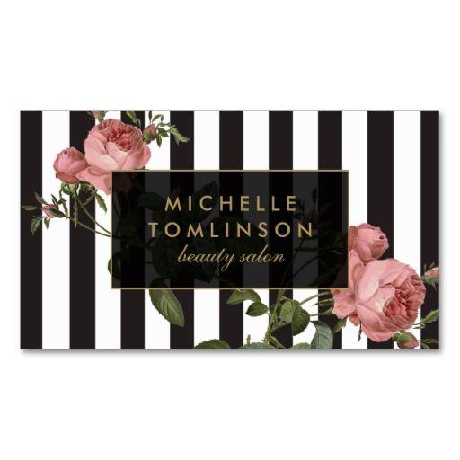 Vintage Floral Striped Salon Business Card Pack Of Standard Business Cards