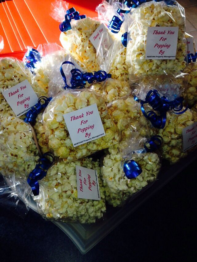 "Realtor Open House favours. Can also be used for housewarming favours. ""Thanks for Popping By""...popcorn treats"