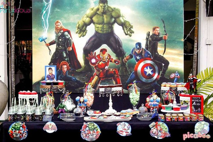 Amazing Avengers birthday party! See more party ideas at CatchMyParty.com!