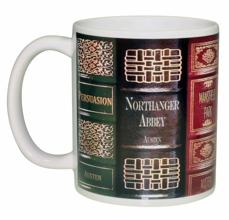 Perfect coffee or tea mug for Jane Austen Fans. This wrap around design features Jane Austen's most popular works: Pride and Prejudice Sense and Sensibility Mansfield Park Northanger Abbey Emma Persua