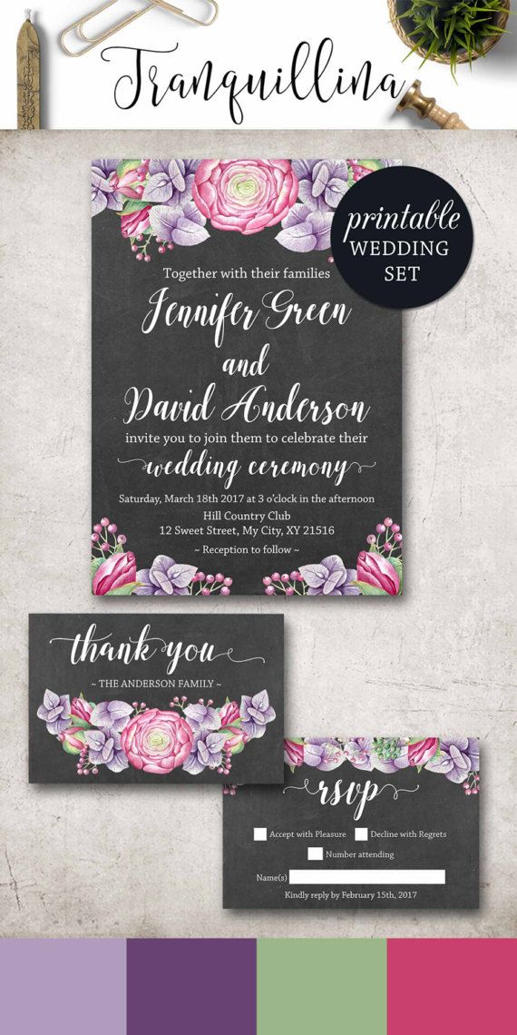 free printable0th wedding anniversary invitations%0A Floral Wedding Invitation  Purple Wedding Invitation Boho  Grey Pink Wedding  Invitation  Watercolor Rustic