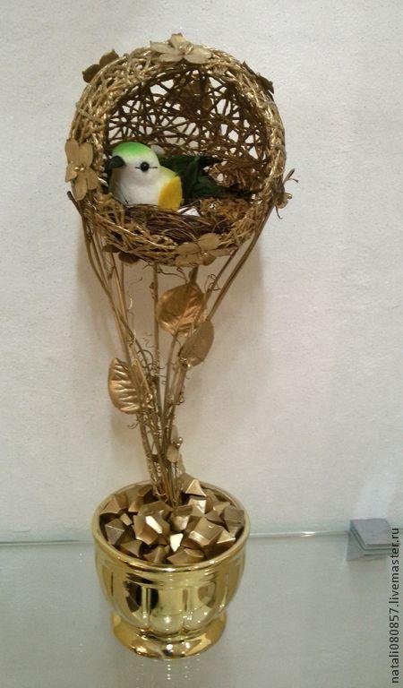 """Топиарии ручной работы. Ярмарка Мастеров - ручная работа. Купить Топиарий """"Птичье гнездо"""". Handmade. Золотой, топиарий дерево счастья"""