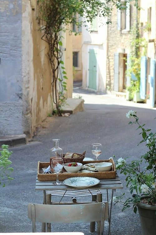 Picnic for one on a street in France