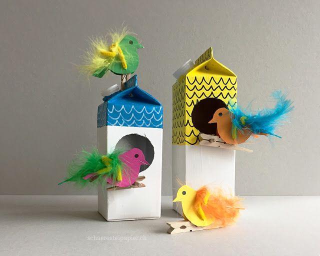 Der Frühling kommt bald und die bunten Papier-Vögel bauen sich ein Nest oder suchen sich ein leeres Vogelhäuschen. Das kannst du ganz e...