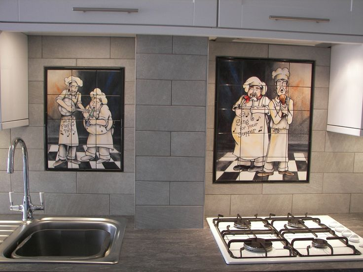 Chef Tile Murals Decorative Tile For Kitchens Chefs On Tile Commercial Tile  For Kitchens