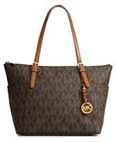Michael Kors Jet Set Signature Logo EW Top Zip Tote Brown $219.99 | eBay www.darlingdiscounts.com