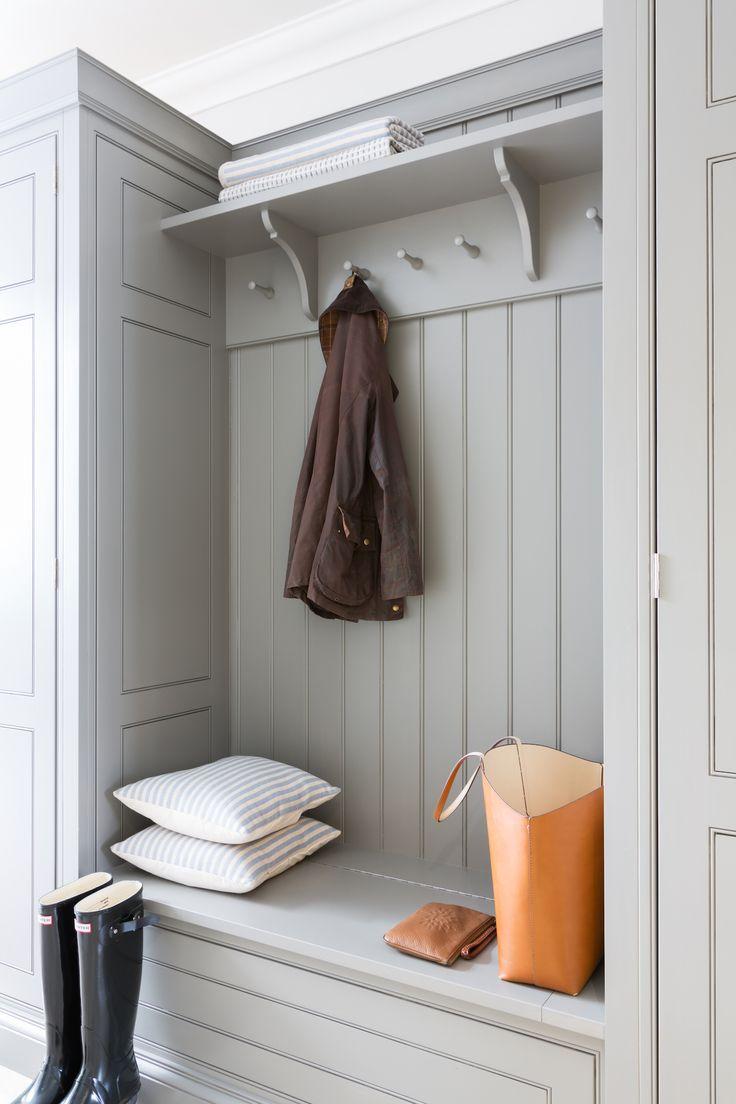 Contemporary Family Kitchen, Chelmford, Essex - Humphrey Munson Kitchens - Dark blue island, grey cabinetry, metallic lighting, boot room, cloak room, wellies, hallway