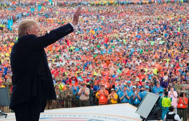 The Boy Scouts respond: We are 'wholly non-partisan'  -  July 25, 2017:        President Donald Trump waves after speaking to Boy Scouts during the National Boy Scout Jamboree at Summit Bechtel National Scout Reserve in Glen Jean, West Virginia, July 24, 2017.