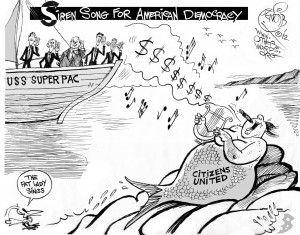"""""""USS Super PAC,"""" an OtherWords cartoon by Khalil Bendib."""