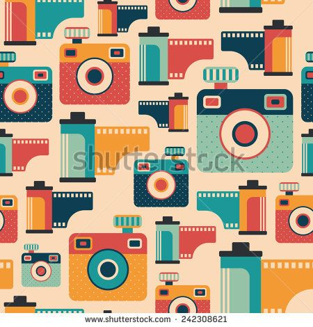 Seamless pattern with colorful retro cameras and films. #retro #retropattern #vectorpattern #patterndesign #seamlesspattern