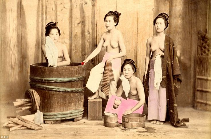 Group of geishas washing and dressing, circa 1880