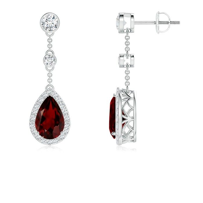 Angara Diamond and Ruby Drop Earrings in Platinum- July Birthstone Earrings