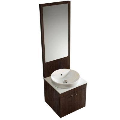 $917 Home Depot 21 Inch Single Vanity With Top, Mirror And Light In Black  Walnut
