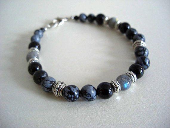 Labradorite Black Moonstone Black Onyx Snowflake by JaspersDream