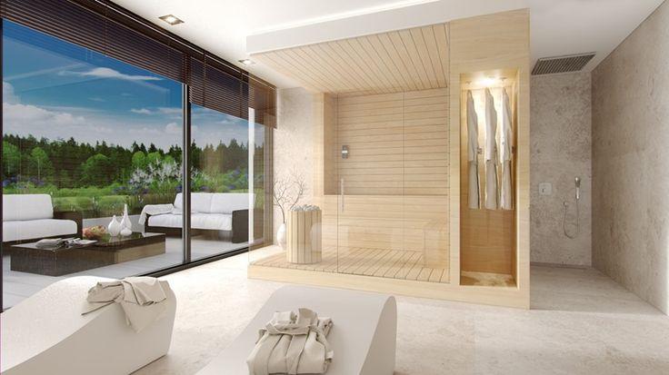Duży pokój kąpielowy z sauną - KM rubaszkiewicz Pracownia Architektury - HomeSquare