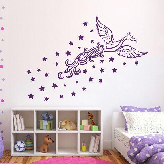 Muro decalcomanie in vinile adesivo Firebird Star uccello volo Interior Design salotto Home Arte murale Kids Room Nursery Bedding Decor MR412