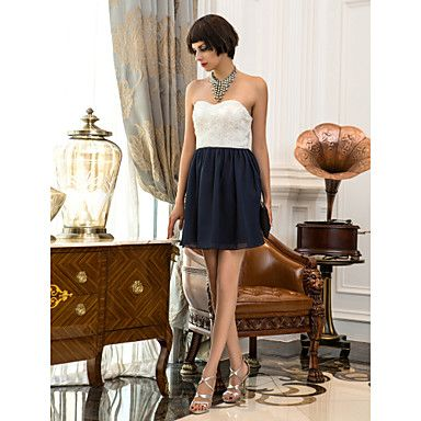 Cocktail Party/Homecoming/Holiday Dress A-line Sweetheart Short/Mini Chiffon/Lace Dress – AUD $ 110.39