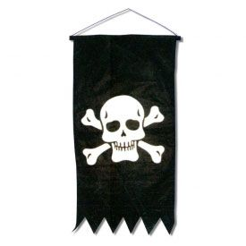 "Pirates ahoy! Our best-selling flag emblazoned with the infamous Skull and Crossbones is sure to accentuate any pirate lover's bedroom, dormitory or favorite hideaway. This flag measures approximately 34"" tall by 17"" wide and is hung by a nylon cord. Perfect for walls with limited space or add as an accent to any yard area. https://www.purepirate.com/hanging-skull-and-crossbones-flag"