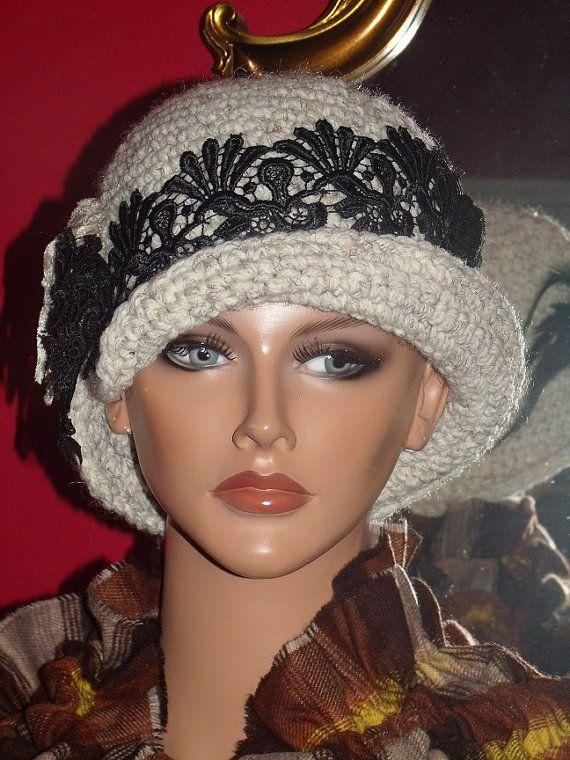 Crochet Flapper Hat Cloche 1920s Theme Off white by ludascrafts, $44.99