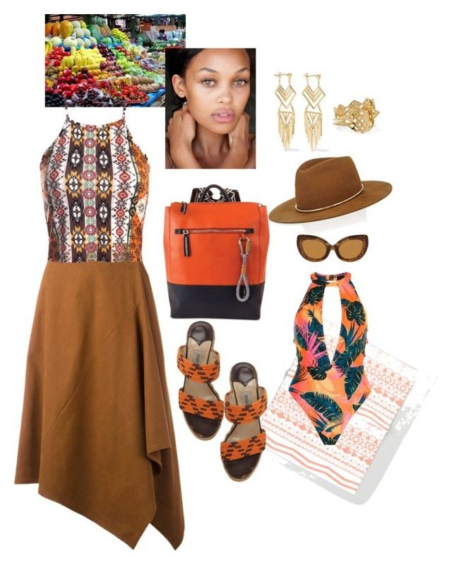 """""""Cabo Bound"""" by babygirltrice ❤ liked on Polyvore featuring STELLA McCARTNEY, Sans Souci, Nautica, Noir Jewelry, Jimmy Choo, Janessa Leone and River Island"""