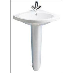 Porcher Pedestal Sink : Carene Corner Pedestal Lavatory Sink by Porcher - Single Hole Faucet ...