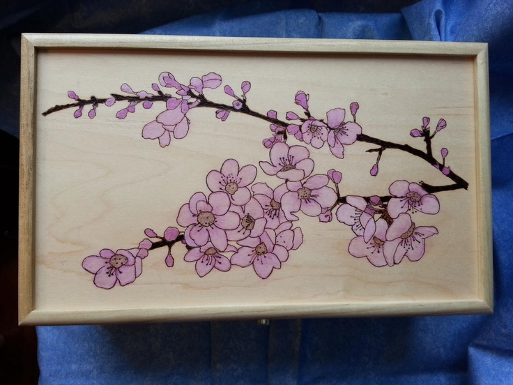35 best woodburn baby burn images on pinterest pyrography cherry blossoms wood box on etsy by burning designs by beth sciox Images