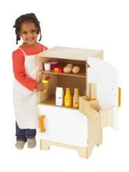 Super pour une dînette complète, un joli frigo comme un meuble pour y ranger ses emplettes, avec un distributeur de glace!, le rêve!  Contenu: 1 frigo, 6 glaçons