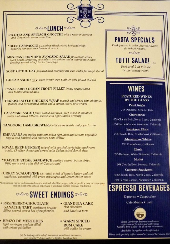 16 Best Cruising Images On Pinterest  Cruises Royal Caribbean Awesome Allure Of The Seas Main Dining Room Menu 2018
