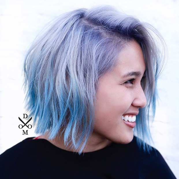 Blue and Purple Bob Hairstyle