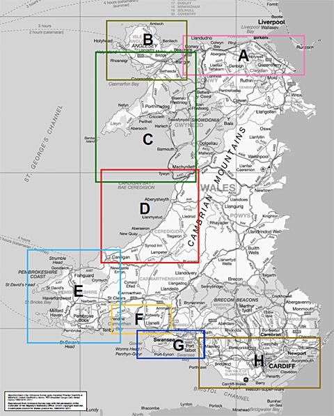 Map of how the Wales Coast Path is divided up - each letter stands for a set of maps within that region.