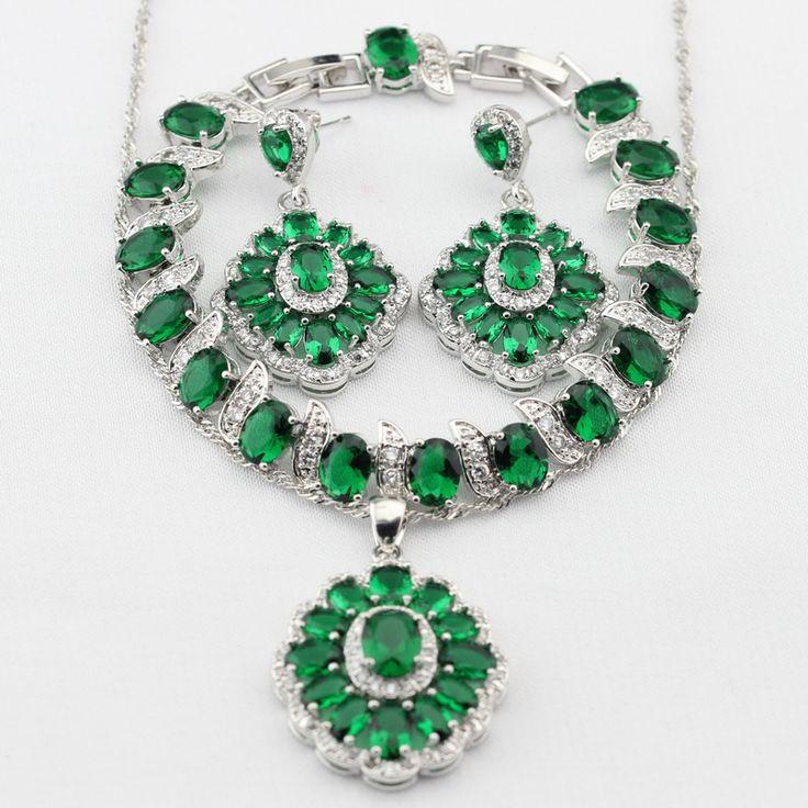 Подвески Серебро Цвет Зеленый Создания Изумрудный Ожерелье Серьги браслет Женщин Dance Party Ювелирные Наборы Рождественские Подарки(China (Mainland))