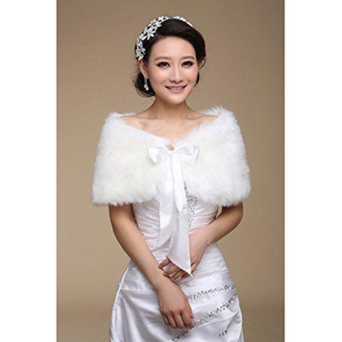 Off White Faux Fur Wedding Bridal Brides Bolero Scarf Shawl Cape Shrug Wrap