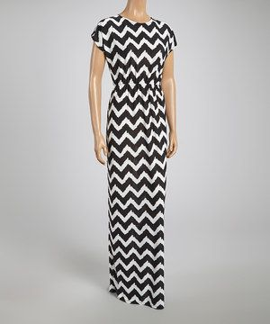 ACTUALLY JUST BOUGHT THIS LOL...GORG...♥Black & White Zigzag Gathered Maxi Dress by GLAM #zulily #zulilyfinds