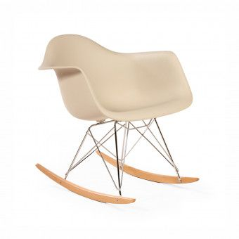 Mid-Century Modern Reproduction RAR Molded Plastic Rocking Chair - Beige Inspired by Charles and Ray E.
