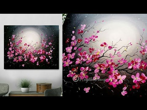 (9) Step by Step acrylic painting on canvas for beginners | moon light night Painting | Tree of flowers – YouTube