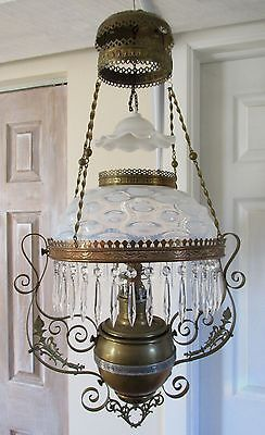 Antique White Opalescent Bulls Eye Glass Hanging Parlor Oil Lamp, Glass Prisms